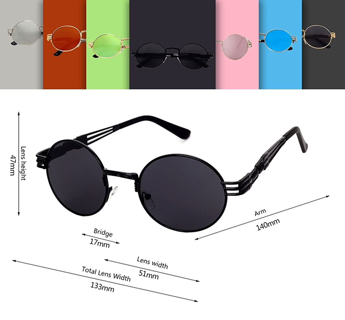 GAMT Retro Metal Hipster Steampunk Round Style Coating Mirrored Sunglasses