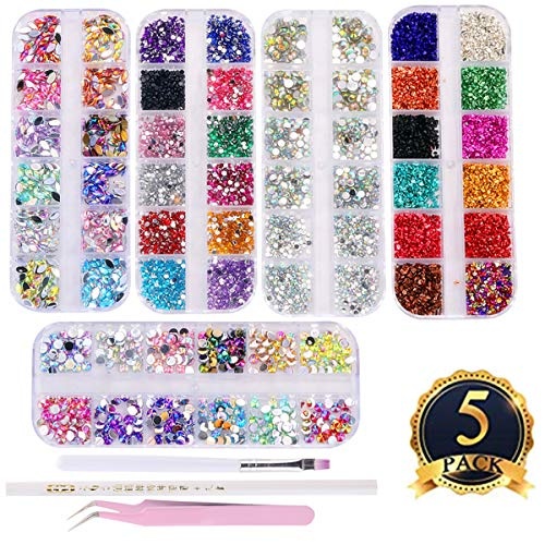 editTime 5000 Pieces (5 Boxes) Shiny Colorful Nail Art Rhinestones Nail Stone Gems Design Kit with a Curved Tweezers and a Nail Brush and a Wax Pen Rhinestone Picker ()