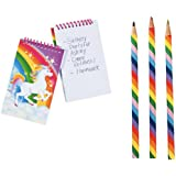 Unicorn Notepads and Pencils, Multi Colored Lead, Party Favor Bundle For 12 People