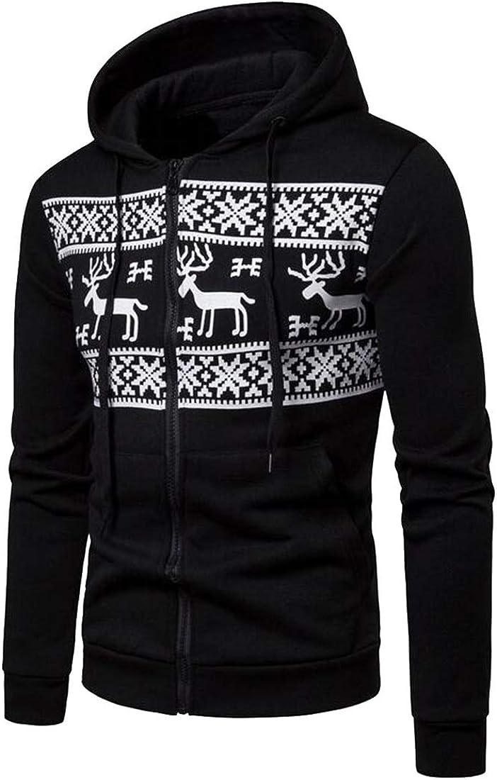 Mstyle Mens Elk Printed Christmas Casual Sport Zip Front Hoodie Hoodie Sweatshirts Jacket Coat