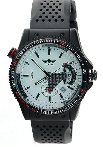 WINNER Hombres sub marca Calendario esfera blanca Skeleton Automatic Relojes: Amazon.es: Relojes