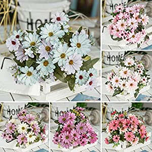ywbtuechars Handmade Artificial Flower Fake Daisy Gerbera Artificial Flower Bud Cloth Flower Small Daisy Flower Home Living Room Table Vase Decoration Flower 1Pc 9 Branches 2