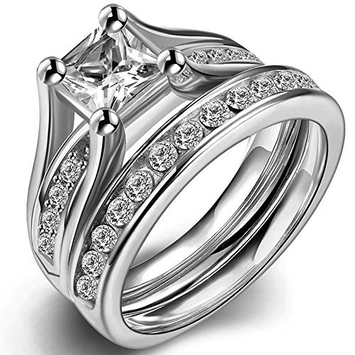 Jude Jewelers Stainless Steel Princess Cut Wedding Engagement Ring Set Anniversary Propose Eternity Bridal Halo (8)