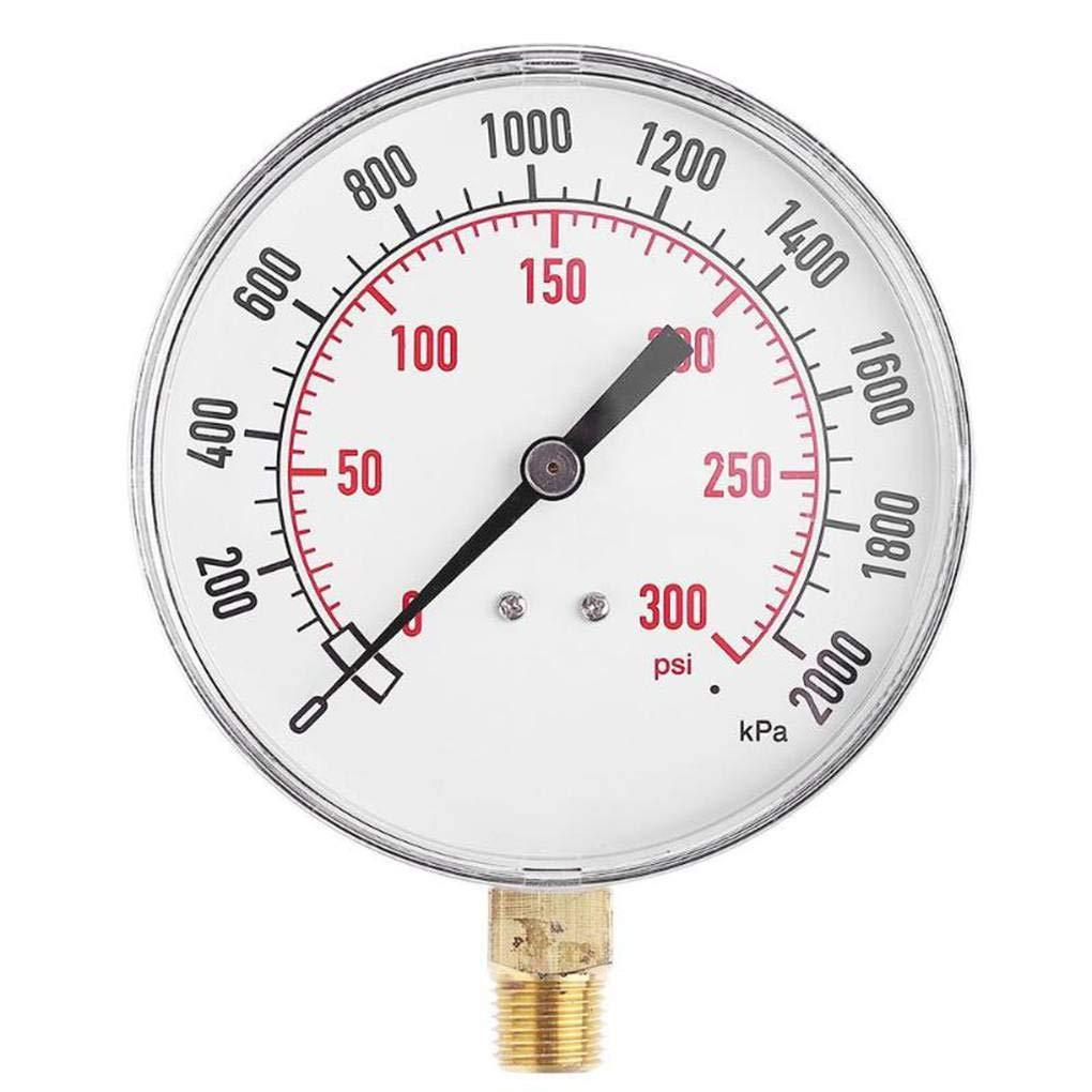 Yiruy 1 / 4inch NPT côté compresseur d'air jauge de pression hydraulique de compteur 0-300psi 20bar jauge de testeur de pression hydraulique
