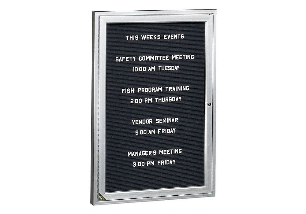 Enclosed Indoor Directory Board 3''W x 3''H BK Black Panel/Satin Aluminum Frame Dimensions: 36''W x 2.25''D x 36''H Weight: 42 lbs by Ghent
