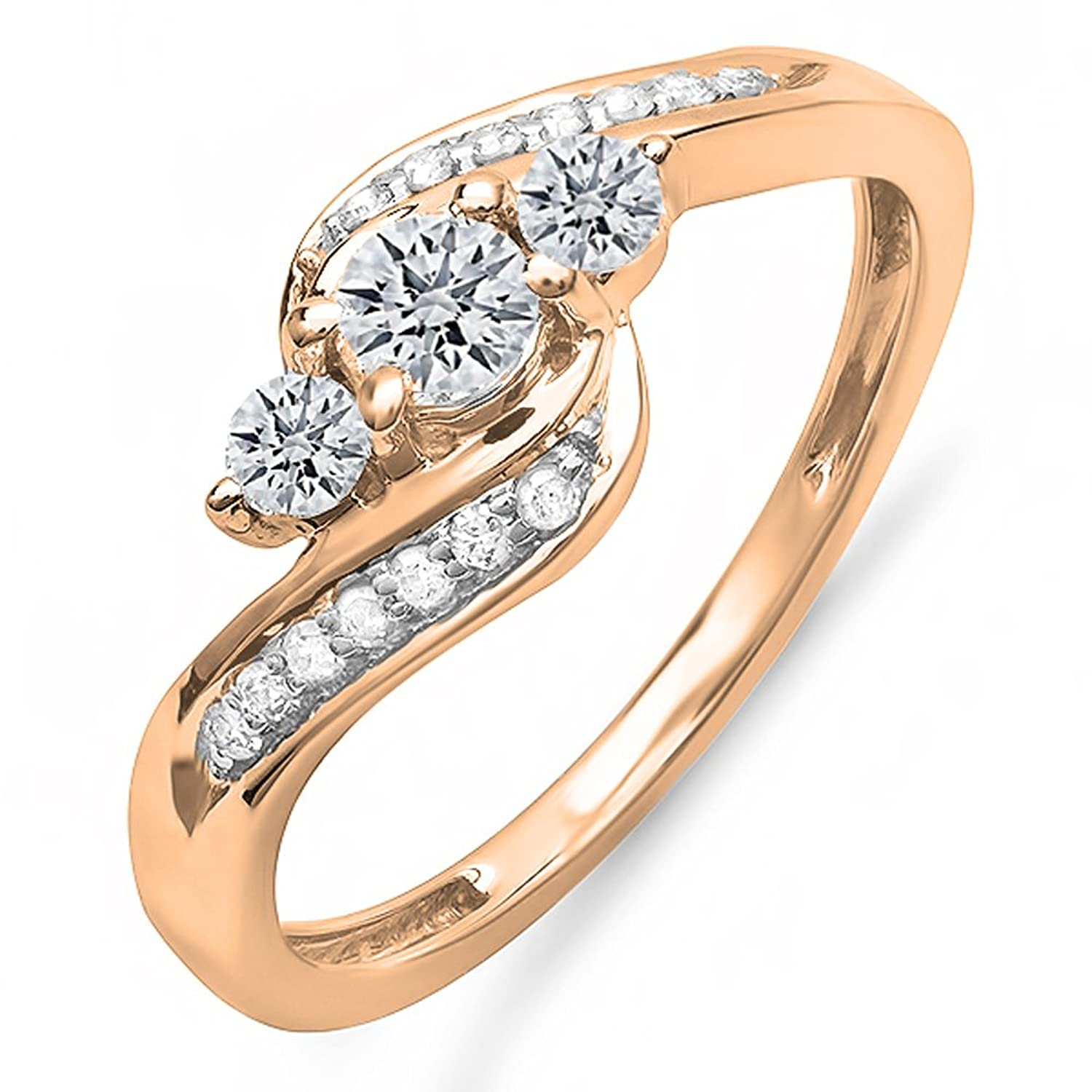 0.50 Carat (ctw) 10k Gold Round Diamond Ladies Swirl Engagement 3 Stone Bridal Ring 1/2 CT