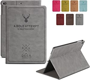 """DuraSafe Cases For iPad 4 / 3 / 2 - 9.7"""" A1458 A1459 A1460 A1403 A1416 A1430 A1395 A1396 A1397 Deer Pattern Folio Smart Cover with Protective Sleek & Classic Design - Gray"""
