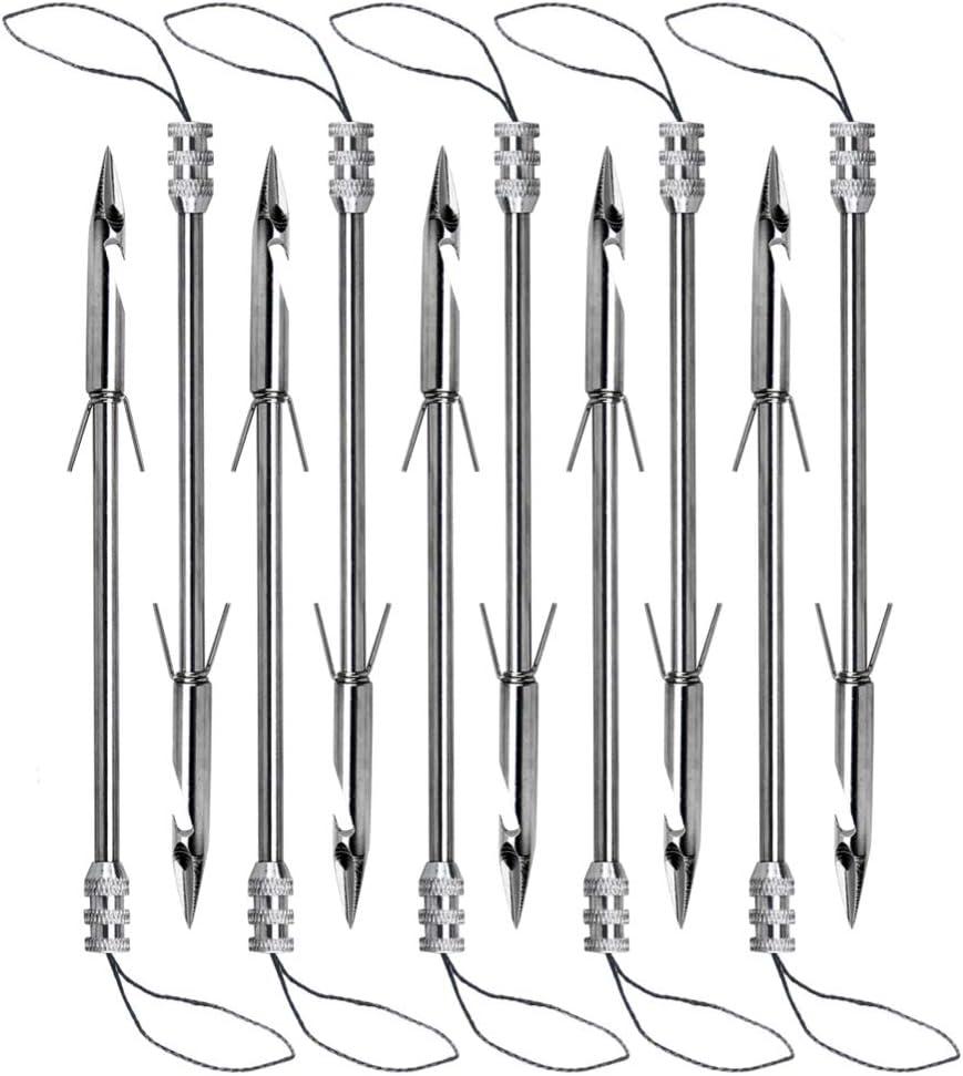 1Pcs Stainless steel Archery Hunting Silver Bow Fishing Slingshot Arrow Hea V5Q1
