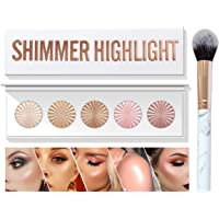 MEICOLY Shimmer Highlight Palette,5 in 1 Glow Up Highlighter Blush Contour Palette Facial Bronzers Illuminator Bright 5…