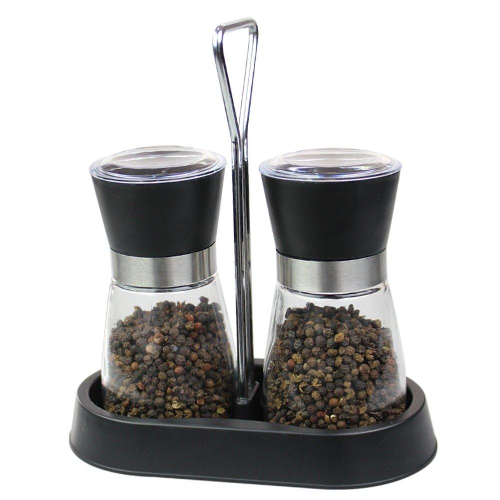 molinillo de pimienta negra Rallador de sésamo manual Vinagrera de cristal cocina fuentes-A