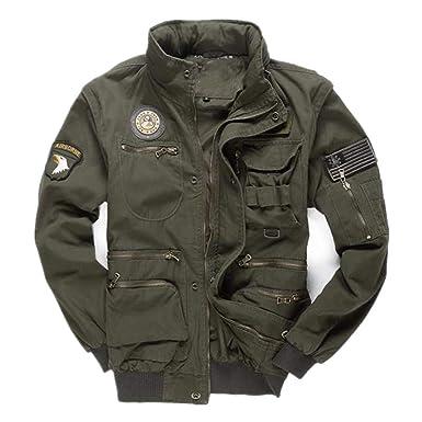 Viviwin Mens Army Pilot Jackets Multipocket Aeronautica Militare Bomber Jacket Men Removable Sleeve Tactical Army Green