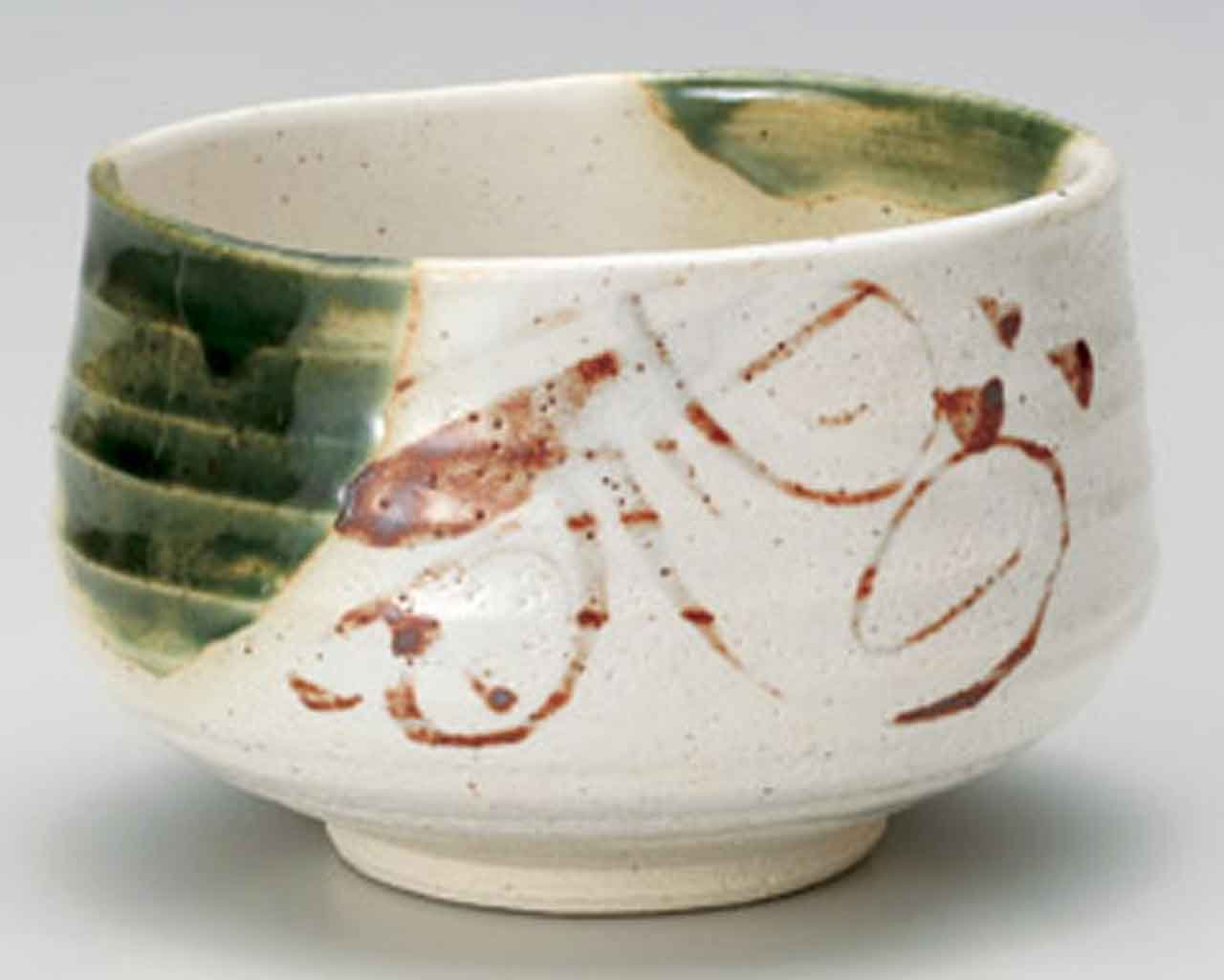 Shino Oribe 4.5inch Matcha-Bowl White Ceramic Made in Japan by Watou.asia