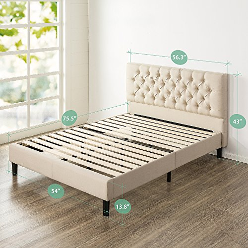 Zinus Upholstered Modern Classic Tufted Platform Bed, Full
