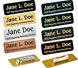 Custom Engraved Brass Name Tag Name Badge Magnetic or Pin Closure Employee Identification Plate Sign Personalized Real Metal (1''x3'', Silver/Black Text)
