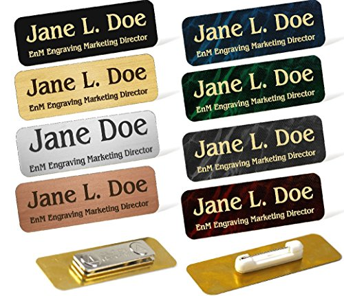 Custom Engraved Brass Name Tag Name Badge Magnetic or Pin Closure Employee Identification Plate Sign Personalized Real Metal (1