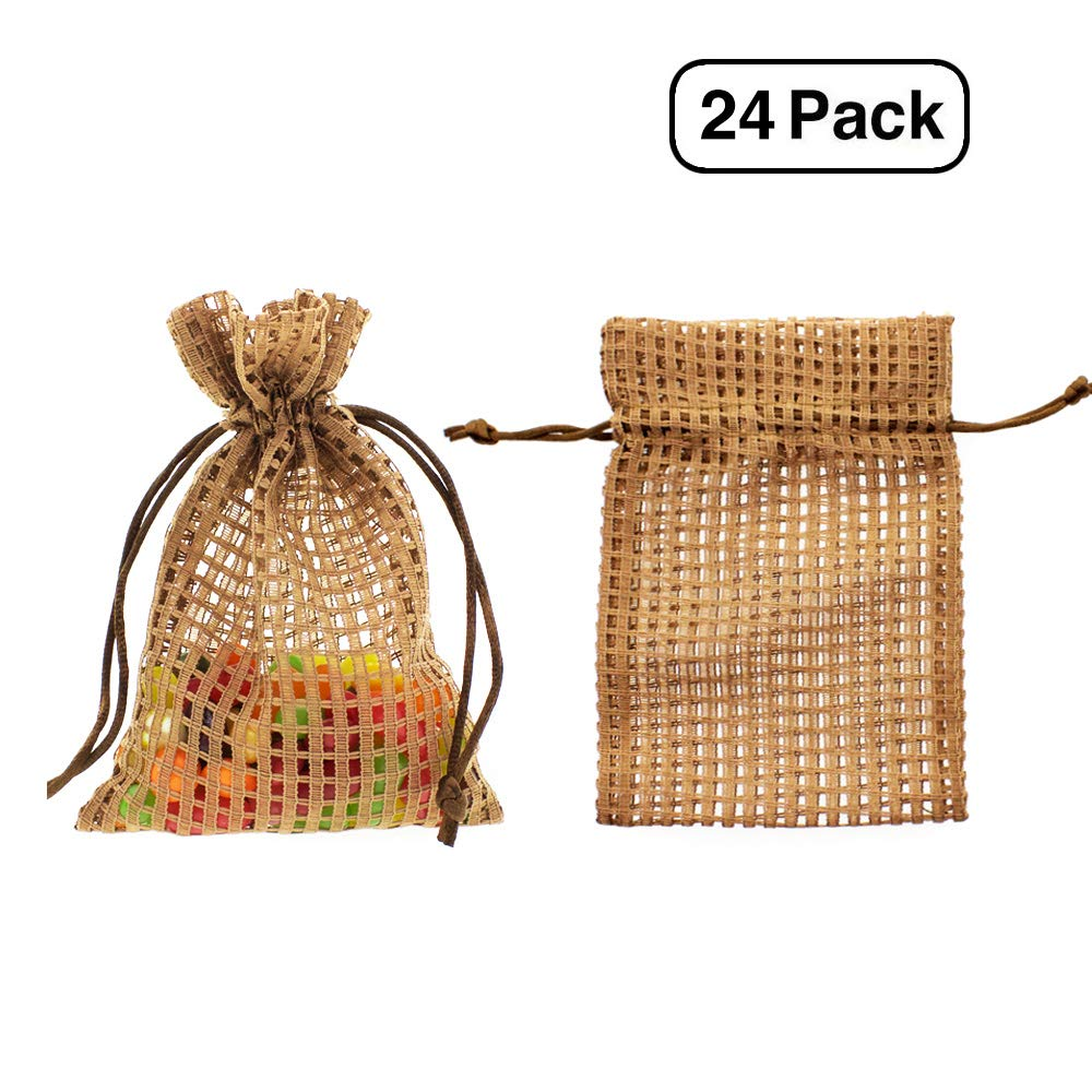 """Linen and Bags 4""""x6"""" Soft Cotton Mesh Drawstring Bags for Party Favors, Crafts, and Keepsakes Multipurpose 25 Bag Pack (Coffee Brown)"""