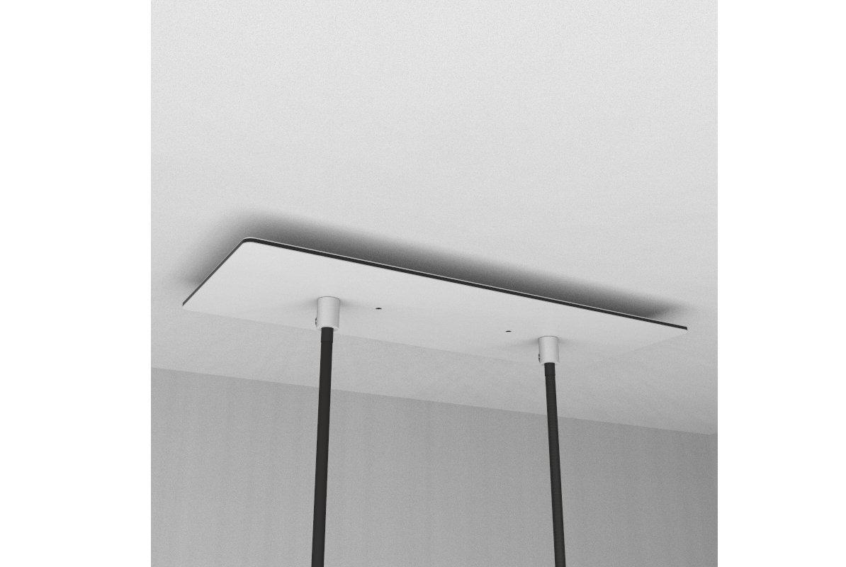 Rosace XXL rectangulaire 30x12cm /à 2 trous blanche avec les accessoires.
