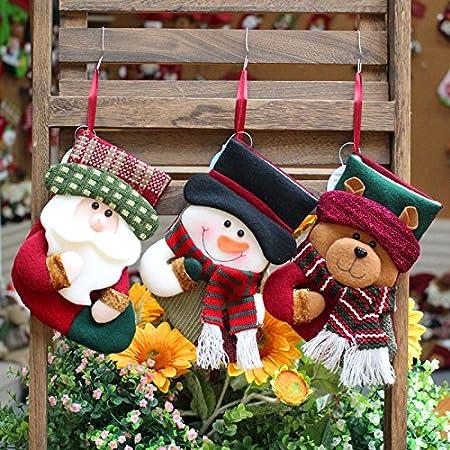Calza di Natale, LifeePro 3 Pezzi Lovely Stockings Natalizie Calzino di Natale Regalo Sacchetto di Caramelle Vacanza Feste Decorazioni Sospese Reindeer Santa Claus Snowman