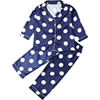 AUESTIE Kids Pajamas Set 2Pcs Children Silk Satin Long Sleeve Sleepwear Toddler Button-Down Nightwear