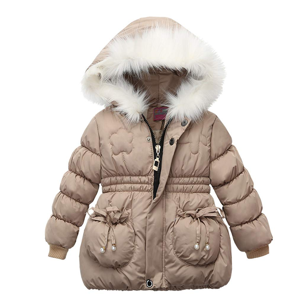 Toddler Baby Girls Winter Thick Warm Zipper Hooded Cotton Down Coat Thick Jacket Outwear (Recommended Age:12-18 Months, Beige) by sweetnice baby clothing