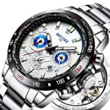 BOYZHE Men Tourbillon Sports Automatic Mechanical Watch Luxury Brand Stainless Steel Fashion Moon Phase Watches (09白色)