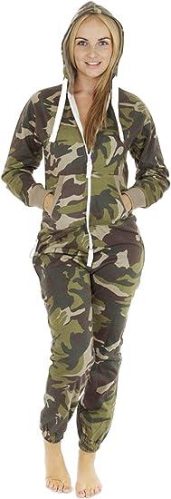 UNISEX Mens /& WOMENS ARMY PRINT HOODIE   JUMPSUIT
