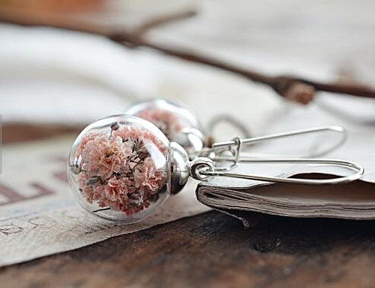 V/éritable Fleur Boucles doreilles Fleur Rose Globe de verre Boucles doreilles pendantes Terrarium botanique