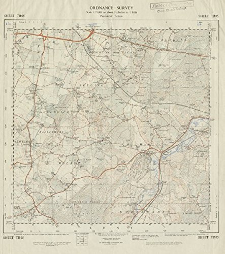 Vintage Ordnance Survey OS map sheet TR05 Boughton Sheldwich Challock - 1964 - old antique vintage map - printed maps of Kent Antiqua Print Gallery