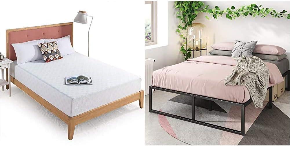 Zinus 10 Inch Gel-Infused Green Tea Memory Foam Mattress, Full & Lorelei 14 Inch Platforma Bed Frame/Mattress Foundation/No Box Spring Needed/Steel Slat Support, Full