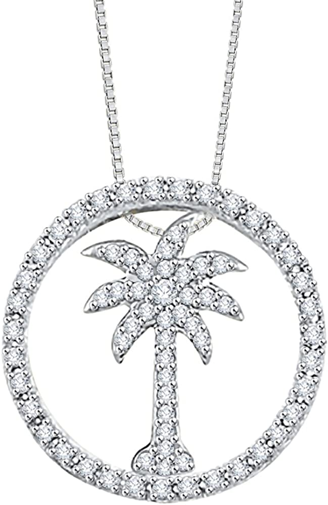 Sterling Silver Diamond Palm Tree Pendant Necklace With Chain 925 GH I2;I3
