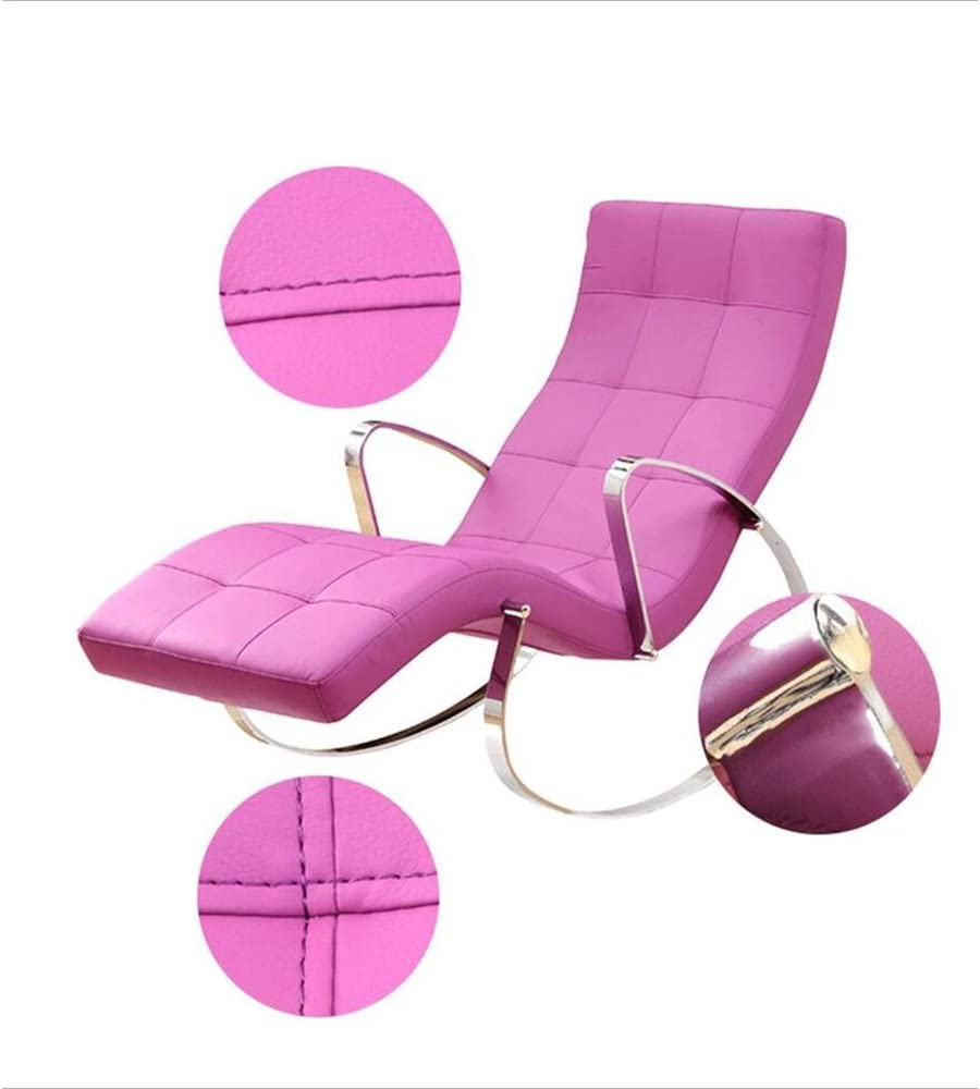 Chair ZHAIZHEN Rocking Lounger Home Balcony Leisure Rocking Simple Fashion Lounge Pu Sofa for Outdoor Yard (color : PINK) Pink