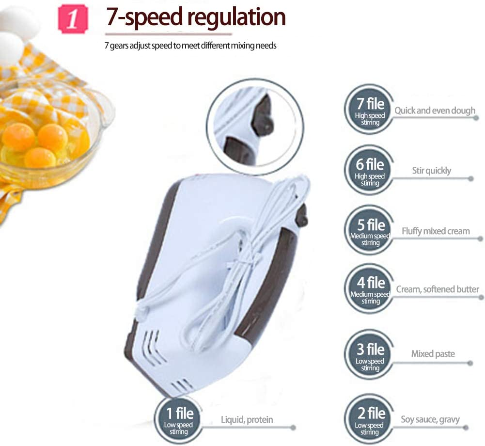 ACCLD in Mano elettrica Eggbeater è Un Peso Leggero 7-Speed Manuale Mixer, Adatto per la Cottura di Torte in Cucina, con 2 miscelatori, 2 Pasta Ganci Pink