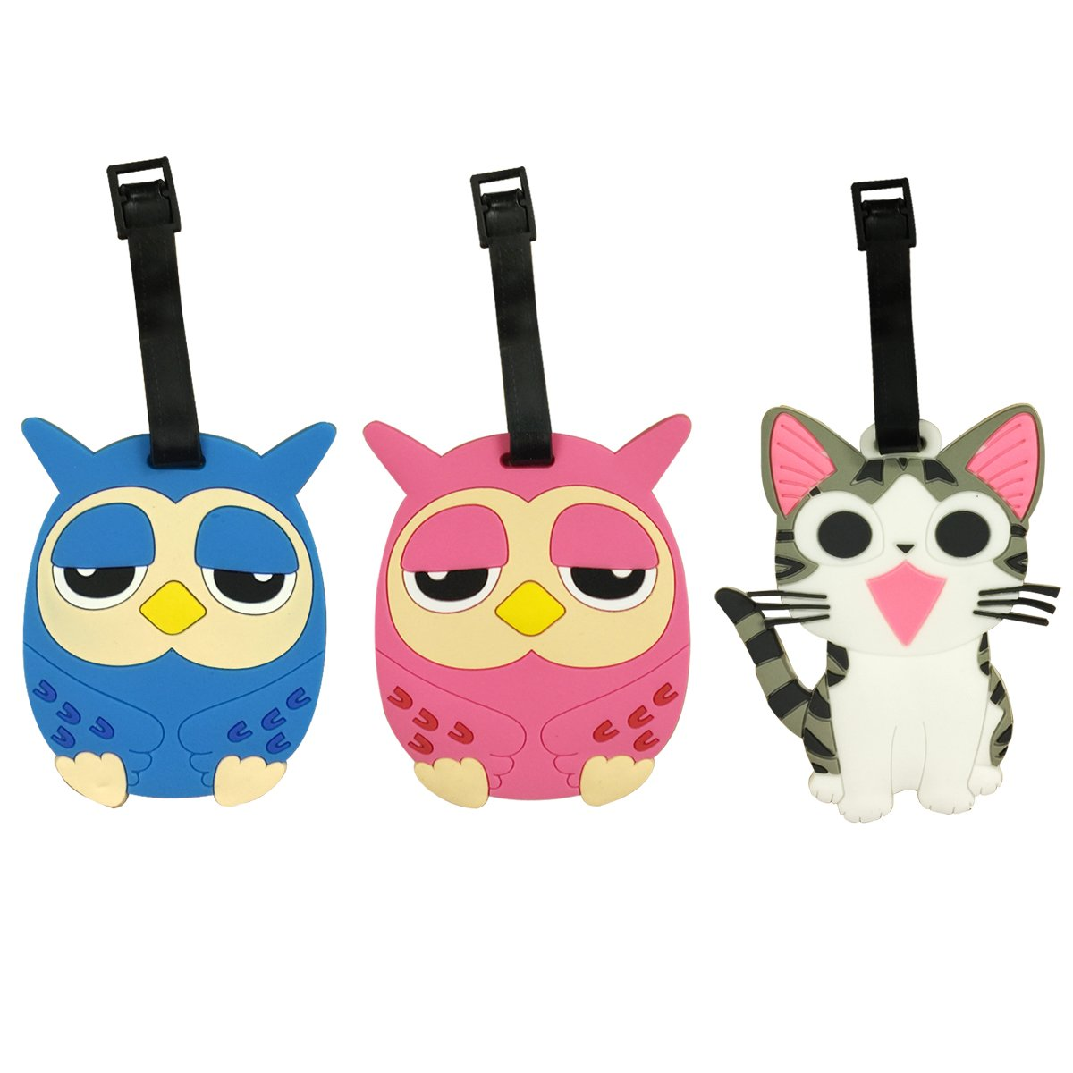 Wrapables Silicone Animal Luggage Tag with ID Card (Set of 3), Owls and Cat B01H819SNS