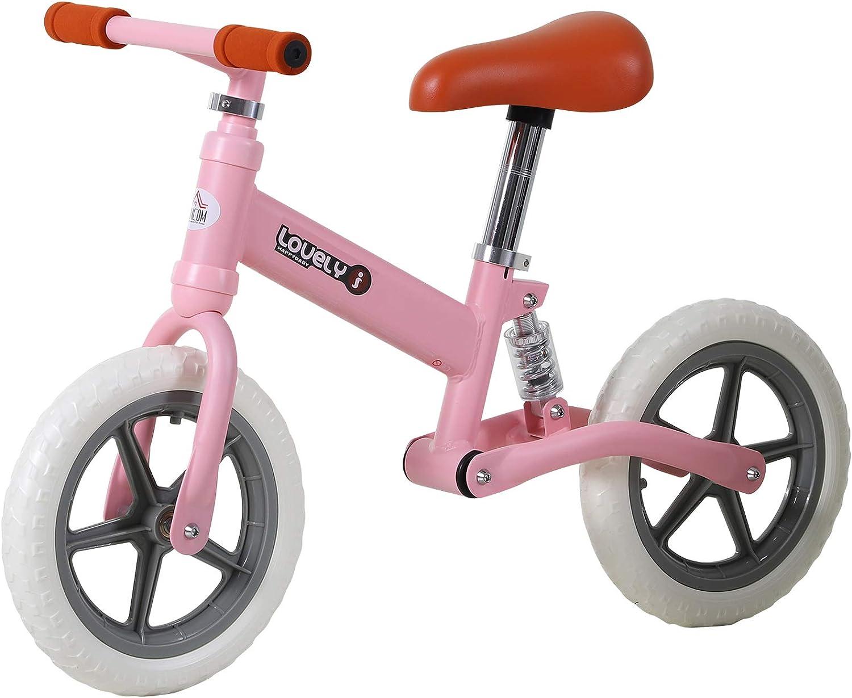 HOMCOM Bicicleta Sin Pedales para Niños Mayores de 2 Años Bicicleta Entrenamiento Equilibrio 85x36x54 cm (LxANxAL) Color Rosa