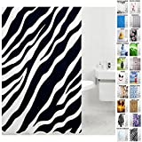 zebra fabric shower curtain - Sanilo Shower Curtain, Wide Choice, Mildew Resistant, 100% Waterproof, Machine Washable, Hooks are Included, Zebra, 72-Inch by 78-Inch