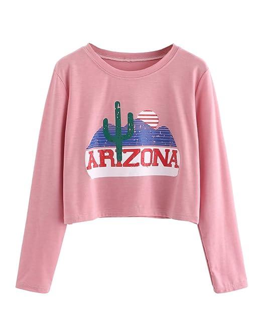 Tomwell Mujer Primavera Cuello Redondo Camisa T-Shirt Impresión de Cactus Pullover Manga Largas Verano