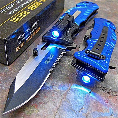Tac-Force Blue Police Assisted Open LED Tactical Rescue Pocket Knife (Pocket Knives Knife)