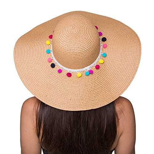 The Chic Soul Pom Pom Multi-Color Floppy Sun Straw Beach Hat (Beige)