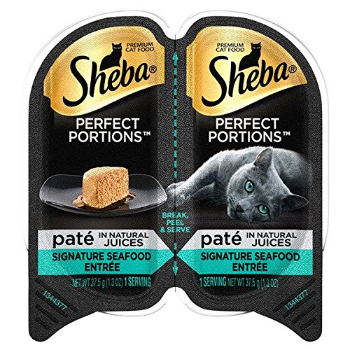 Sheba Perfect Portions Pate` in Natural Juices Signature Seafood Entree` Wet Cat Food Tray(6-Pack 2.6 Ounce Each Tray)