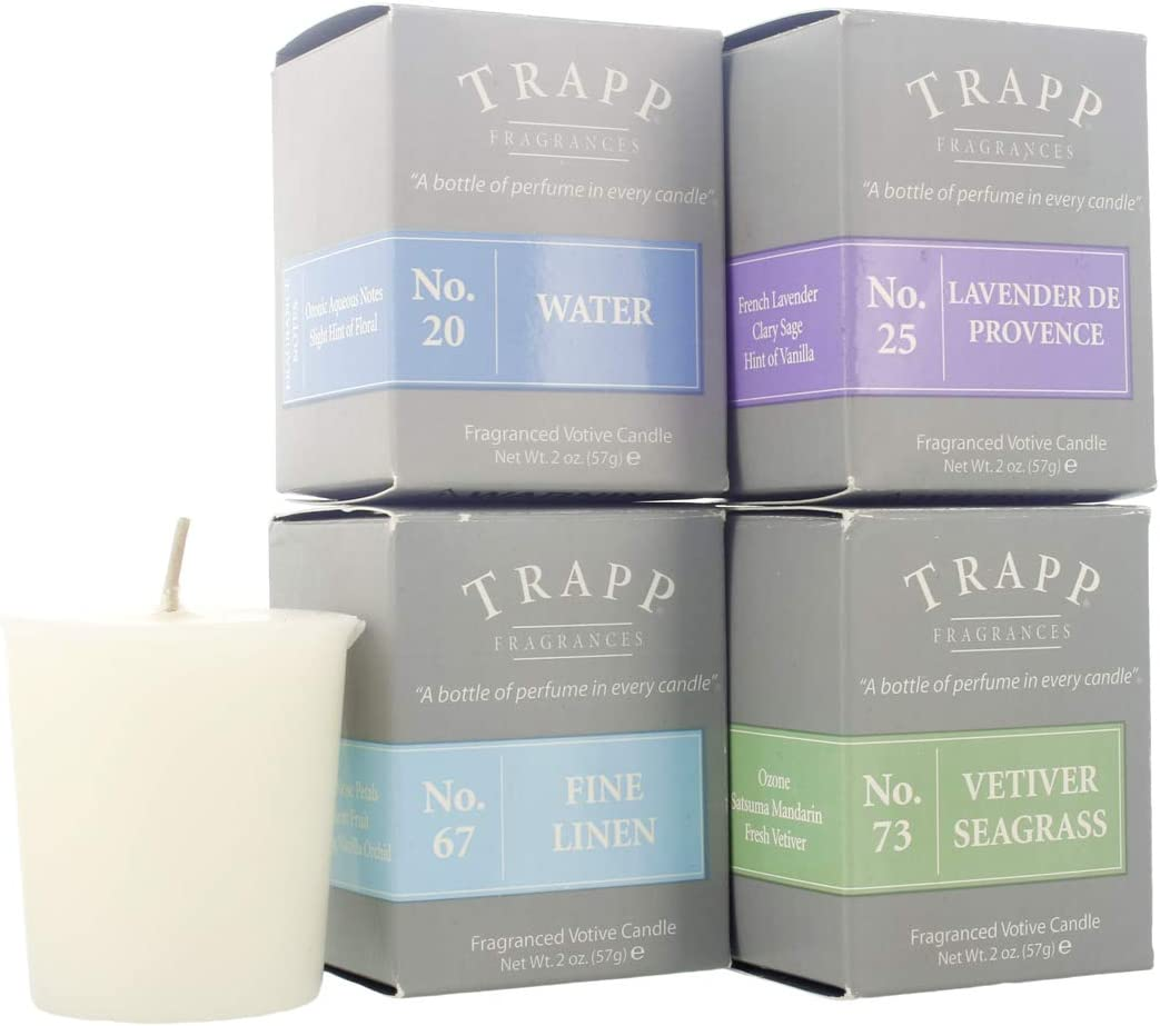 Trapp Signature Home Collection Coastal Variety 2oz Votive Scented Candle, Set of 4