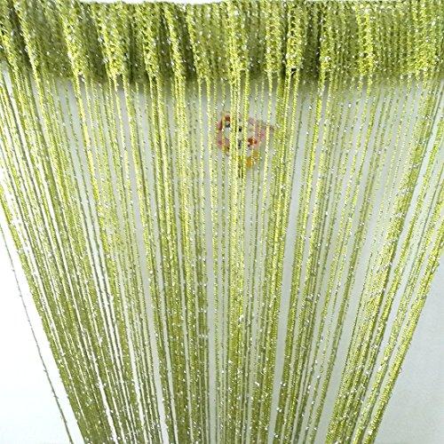 Eve Split Decorative Door String Curtain Wall Panel Fringe Window Room Divider Blind Divider Crystal Tassel Screen Home 100cm200cm (Grass green18)
