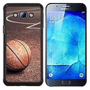 EJOOY---Cubierta de la caja de protección para la piel dura ** Samsung Galaxy A8 A8000 ** --Textura del baloncesto de la vendimia