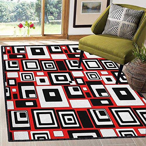 Abstract Geometric Area Rug,Minimalist Geometric Figures Retro Rectangle Forms Nostalgia Art Print Provides Protection and Cushion for Floors Vermilion Black White 67