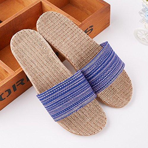 Indoor Slipper Summer Linen Flax Sandals Beach Wind Unisex Beach Slippers Slipper Shoes Breathable Goal Pink Open Skidproof Toe qwvvgf