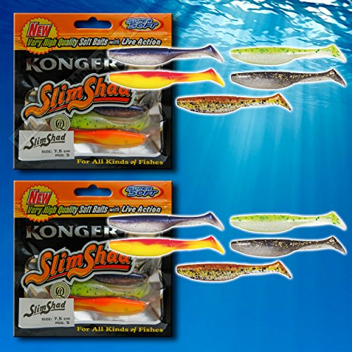Ripper Soft Fishing Lures 7.5 cm Bait Slim Shad Jig Head Tackle Grub Pike Zander