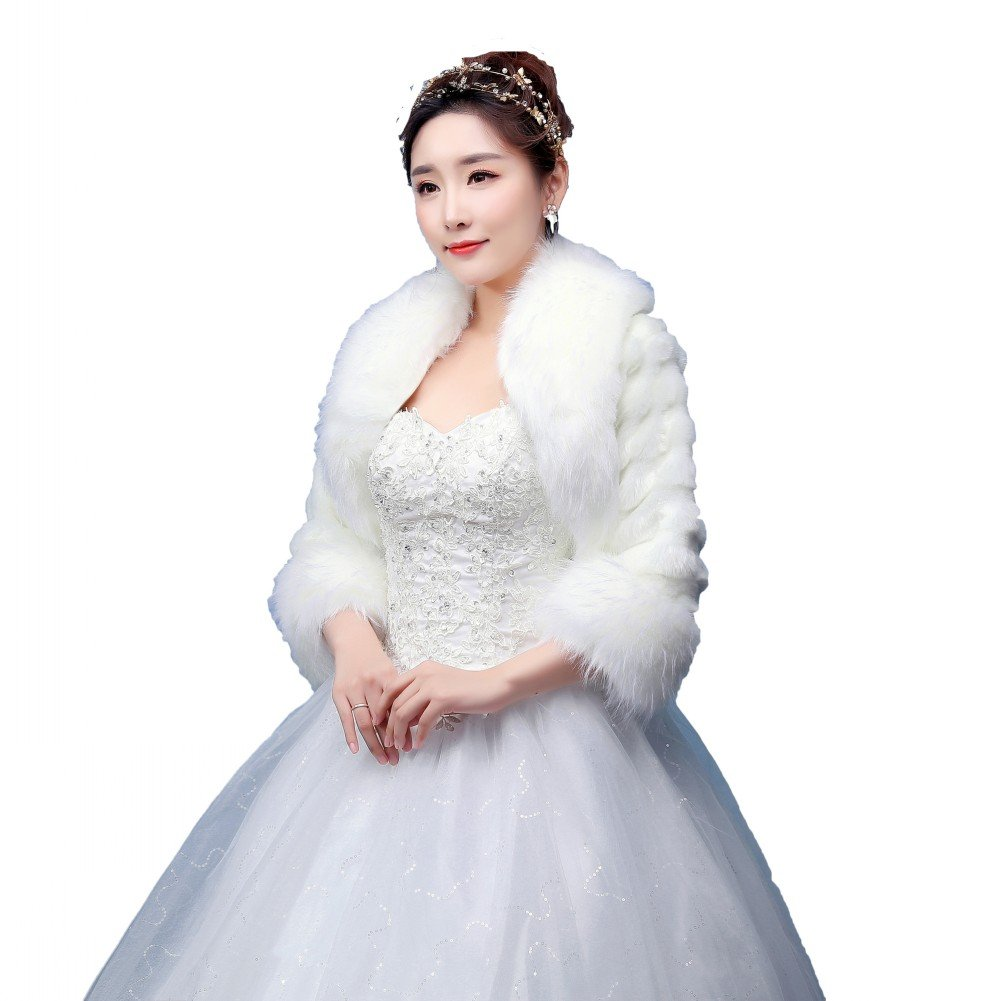 BOWITH Women Winter Warm Wedding Shawl Shrug Bolero Cape Faux Fur Jacket Coat Ivory 1