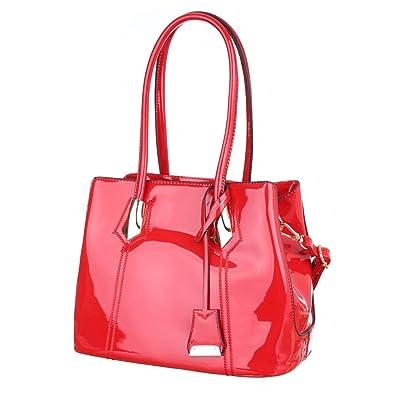 37aa9e17bf484 Ital-Design Damen-Tasche Mittelgroße Schultertasche Lack Leder Optik  Kunstleder Rot TA-7024