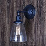 XIDING Premium Industrial Edison Antique Simplicity Glass Wall Sconce Light, Upgrade Black Finish Wall Lamp, On/Off Rotary Switch on Socket, 1-Light