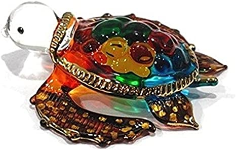 Model Y2016 Handmade Mini Yellow Sea Turtle Art Art Glass Blown Sea Animal Figurine