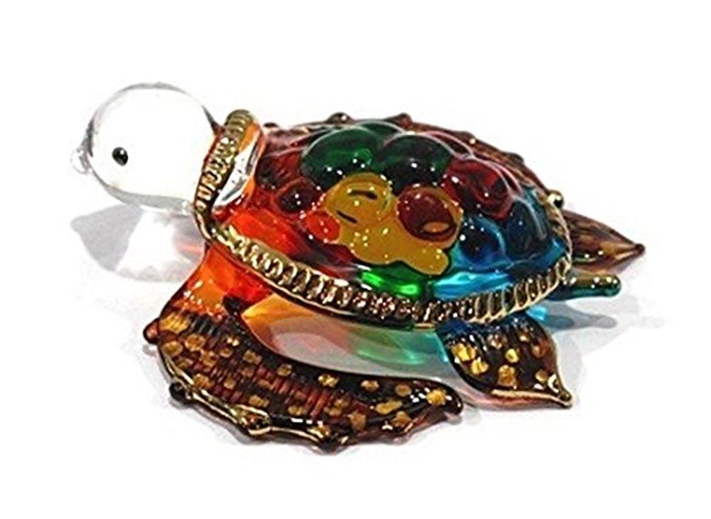 Handmade Sea Turtle Art Art Glass Blown Sea Animal Figurine